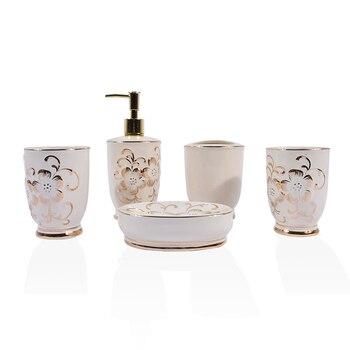 New Arrival European-style Ceramic Bathroom Five-piece Set 05001-1 Creative Bathroom Toiletries Rinse Cup Brush Cup Set Hot Sale