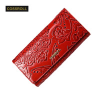 Embossing Flower Women Wallet Genuine Leather Female Purse Long Printing Floral Women Retro Cow Leather Purse