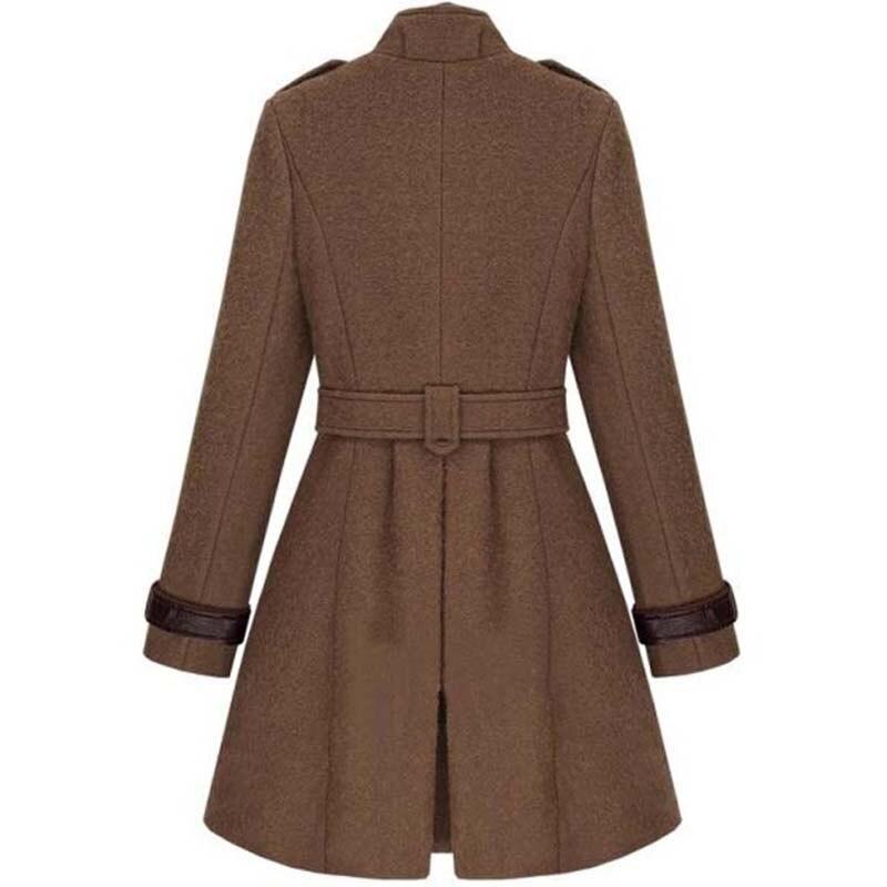 En Femmes brown Pink Black Manteaux Femme Vintage Longue Boutonnage À Hiver Veste beige Plus Double Manteau Pour Taille Cachemire Trench wHg1tq
