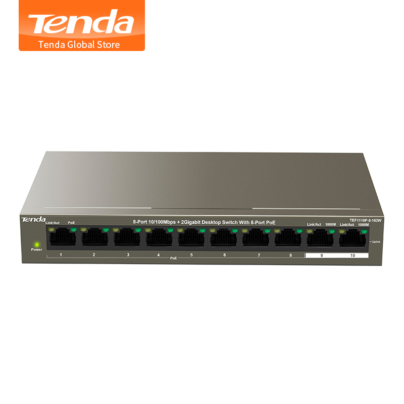 100% Wahr Tenda Tef1110p-8-102w 8-port10/100 Mbps + 2 Gigabit Desktop Switch Mit 8-port Poe, 6kv Port Blitzschutz