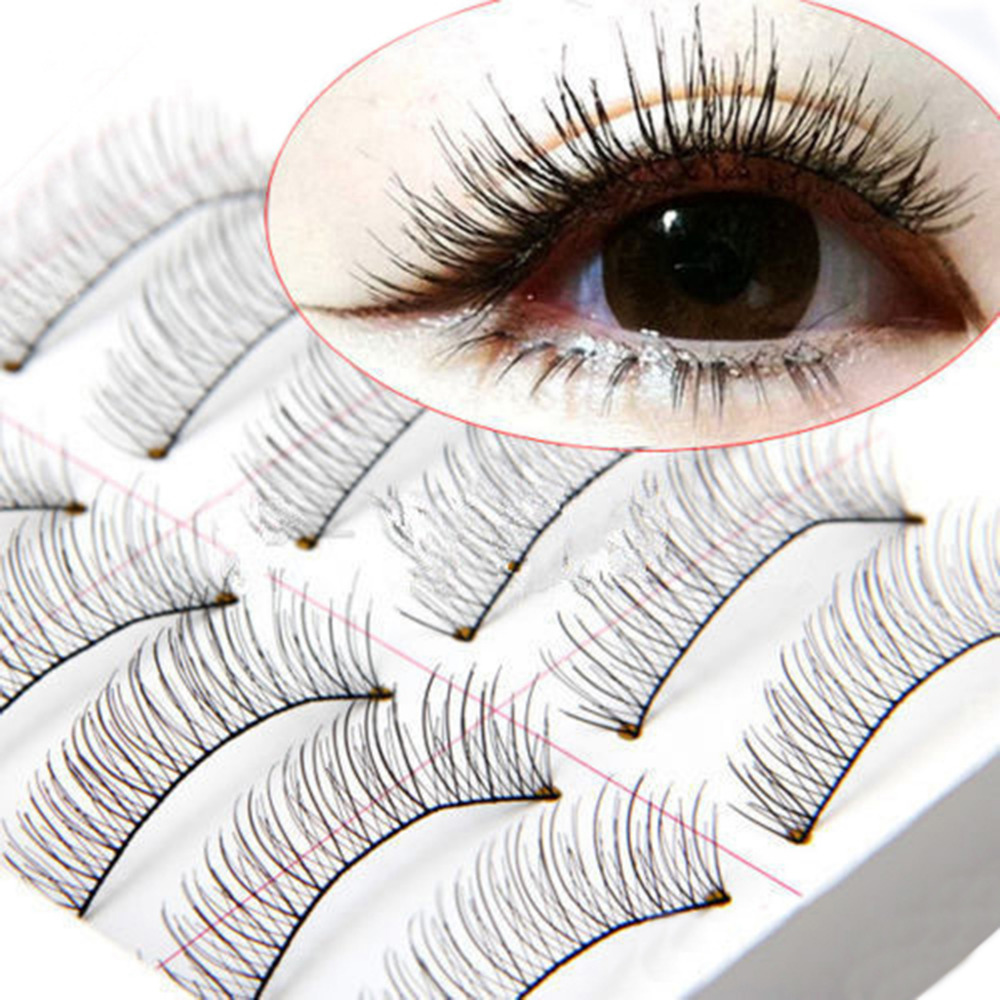 10Pairs/set Makeup Extension False Eyelashes Soft Natural Cross Long Thick Handmade Eye  ...