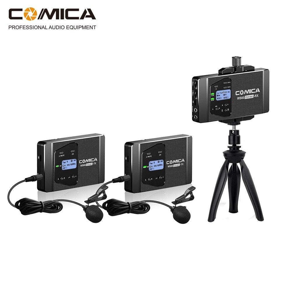 CoMica CVM-WS60 COMBO Mini Sans Fil Microphone Système Smartphones et Appareils Photo Intégrés support pour téléphone avec Tête de Boule de Trépied