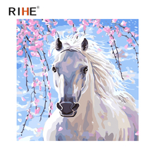 RIHE White Horse Diy Painting By Numbers Animal Oil On Canvas Hand Painted Wall Pictures For Living Room 2018 Art
