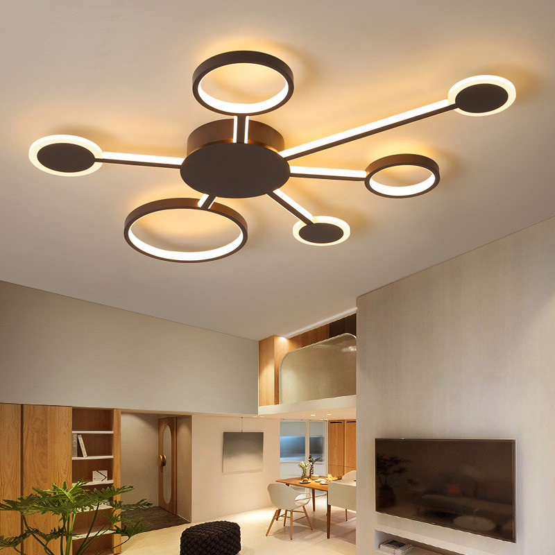 купить New Creative Postmodern LED Chandelier light for Bed room Living room white/brown Ceiling Chandelier lighting lamparas de techo по цене 6119.78 рублей