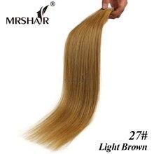 MRSHAIR 27# Tape In Hair Extensions 16″ 18″ 20″ 22″ 24″ Adhesives Tape In Human Hair Light Brown Brazilian Hair Straight 20pcs