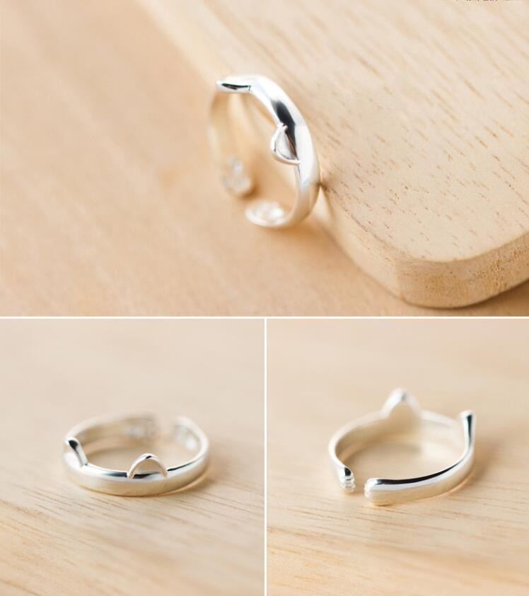 925 Sterling Silver Paw Paw Cat Ear Cute Woman Ring