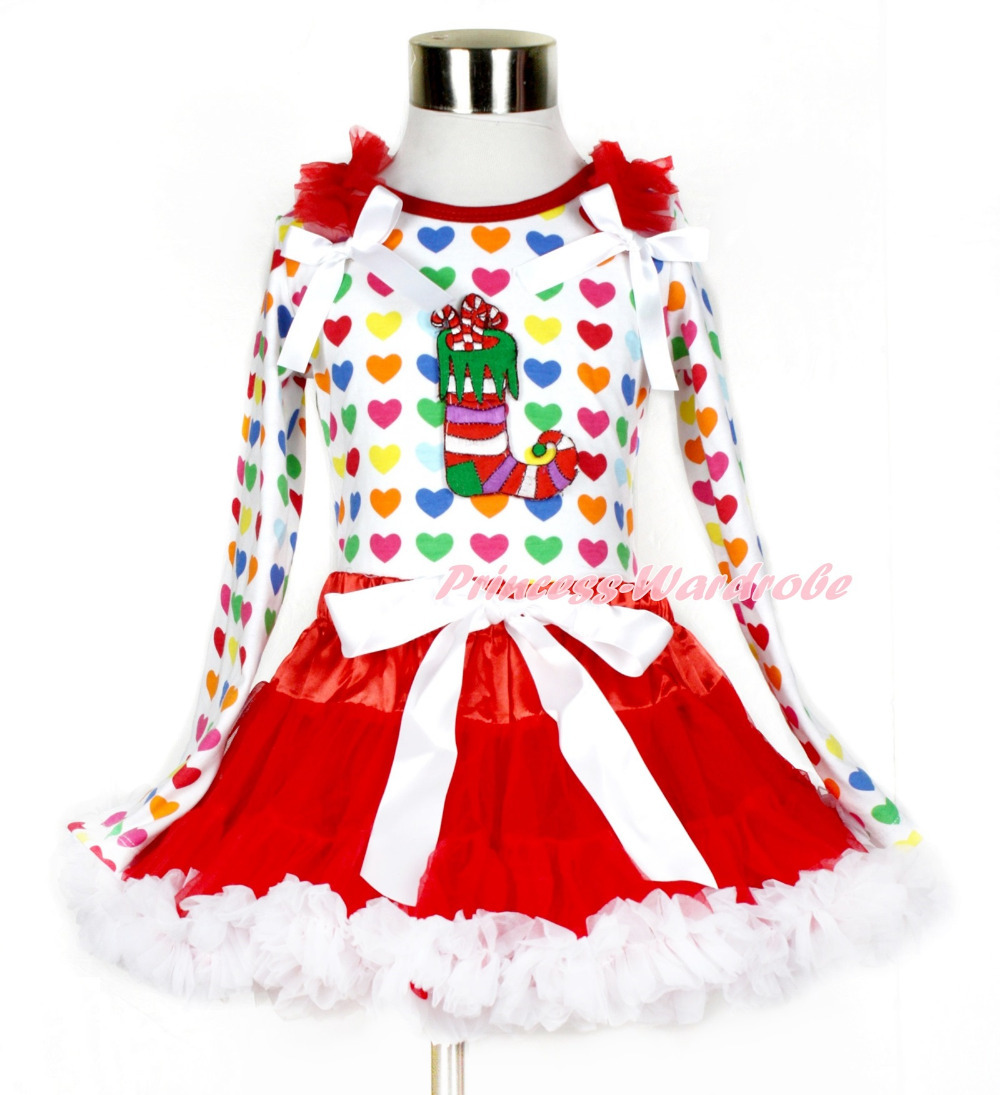 Xmas Red White Pettiskirt with Christmas Stocting Print Rainbow Heart Long Sleeve Top with Red Ruffles & White Bow MAMW411 white pettiskirt with patriotic america heart white ruffles