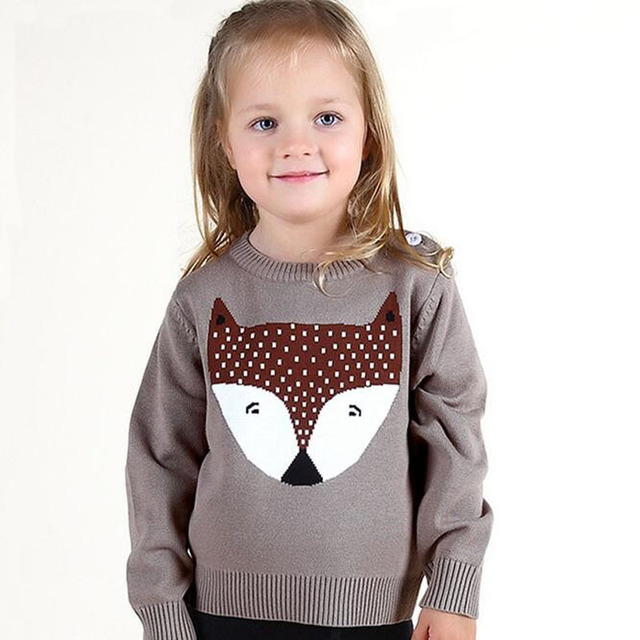 92e74719cd50 Baby Girls Boys Sweaters Autumn Winter Wear Warm Little Fox Cartoon ...