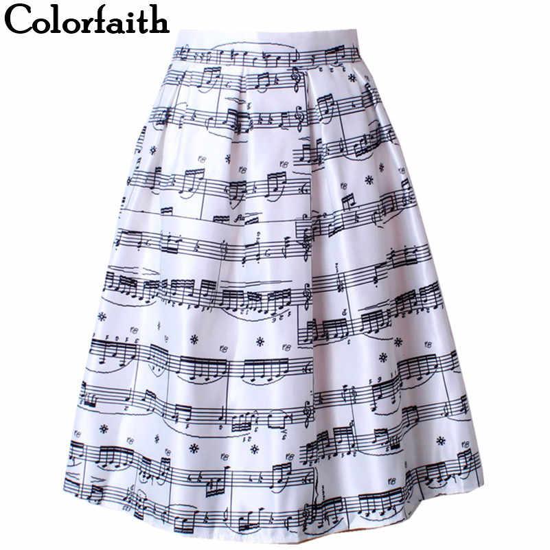New Fashion Women Piano Music Note Melody Print Pleated High Waist Fall  Winter Flared Tutu Midi 92cf68d9da8d