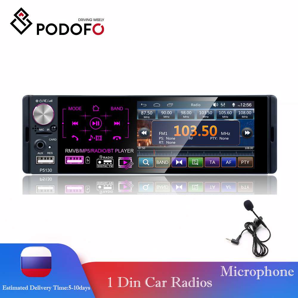 """Podofo Car Radio 4.1"""" HD Autoradio Multimedia Player 1DIN Touch Screen Auto audio Car Stereo MP5 Bluetooth RDS Dual USB Micphone-in Car Radios from Automobiles & Motorcycles"""