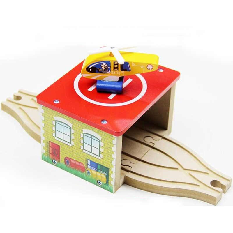 P050 Hot Wooden houses + helicopter apron train combination package compatible wooden train tracks train the necessary scenes