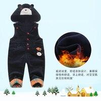 Kids Overalls Jumpsuit Corduroy Plus Velvet Fleece Cartoon Hooded Rompers Bibs Children's Winter overalls for boys Baby Clothes