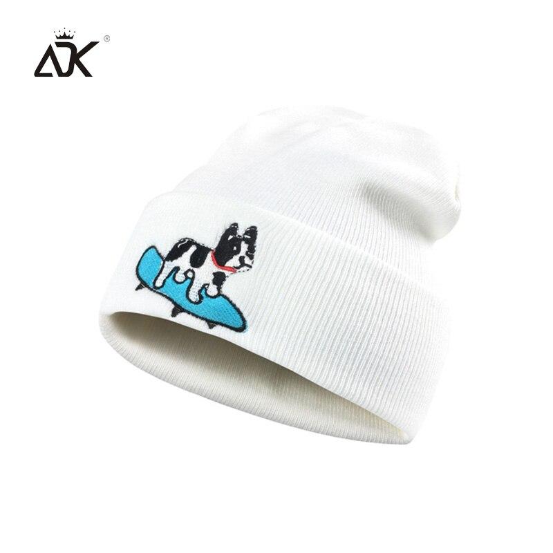 Kopfbedeckungen Für Herren Clever Männer Hüte Winter Acryl Beanie Candy Frauen Gestrickte Hut Mützen Für Damen Beiläufige Kappe Mädchen Mit Cartoon Stickerei Hund Auswahlmaterialien