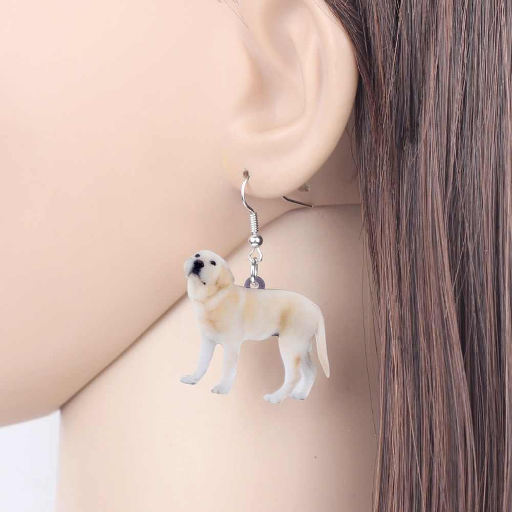 Bonsny Akrilik Ayakta Labrador Retriever Köpek Küpe Dangle Bırak Sevimli hayvan figürlü mücevherat Için Kadın Kız Hayvan Severler Aksesuarları