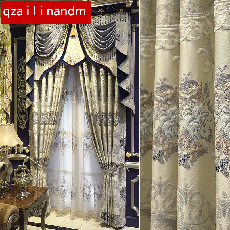 European Luxury Jacquard Relief High Shading Curtains For Living Room Royal Custom Curtains For Bedroom /villa/Kitchen Window