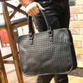The new tide of Korean male package bags hot PU woven bag tote bag leisure Xiekua package