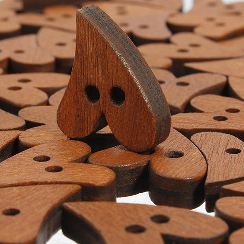 10Pcs/set Heart Shape Wooden Buttons Craft Scrapbooking 2mm for Garment Accessories Clothes Scrapbooking Decor Sewing Buttons