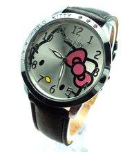 J410 Free Shipping Wholesale New leather wrist watch children girl cartoon fashion hello kitty quartz watch