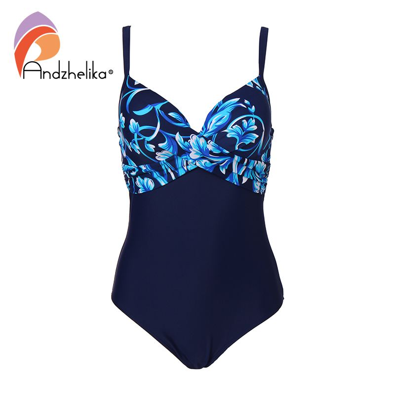 Andzhelika Plus Size Swimwear Women One Piece Swimsuit Summer Large Cup Print Sexy Fold Bodysuit Beach Bathing Suit Monokini 2018 women plus size s 5xl swimsuit print sexy split boxer swimsuit two piece bathing suit summer beach swimwear