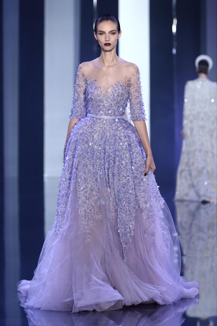 Elie Saab Couture Lavender Evening Dresses 2016 Half Sleeve Lace ...
