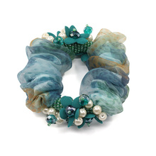 1Piece Handmade Floral Hair Rope Super Elastic Headbands with crystal & pearl High quality Ponytail Scrunchie Accessories