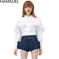 HAMALIEL 2017 Luxury Autumn Women Fashion White Cotton Blouse Runway Rivet Ruffles Long Sleeve Turn Down
