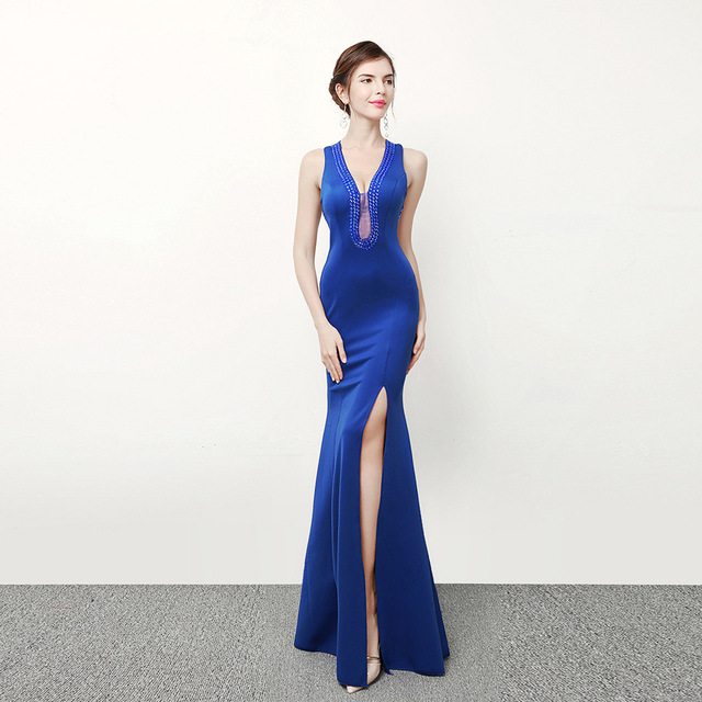 Royal Blue Evening Gowns Nightclub Chinese Oriental Wedding Dresses ...