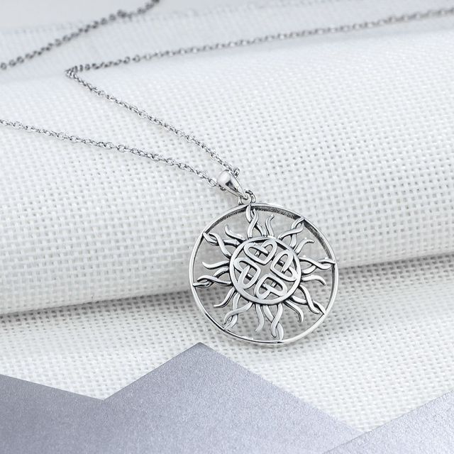 Sunflower 25mm Large Pendant Necklace Jewelry 925 Sterling Silver Necklaces Pendants For Women Fashion Gift(JewelOra NE101909)