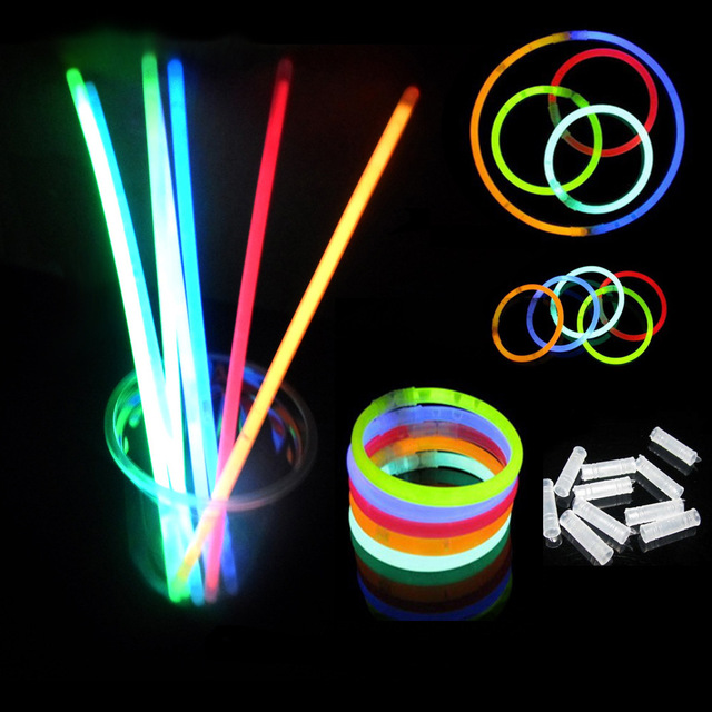 100pcslot multi color glow stick light bracelets necklaces for party hot dance christmas decoration
