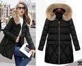 European style women fashion fur collar cotton hooded coat jacket women casual warm keep  coat jacket