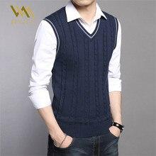 Мужские свитера, осенне-зимняя куртка, мужские теплые пуловеры без рукавов с круглым вырезом, вязаный жилет, Femme, Элегантный Повседневный свитер, жилеты