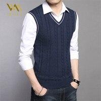 Для мужчин s свитеры для женщин осенне зимняя куртка теплые пуловеры без рукавов с круглым вырезом вязаный жилет Femme элегантны