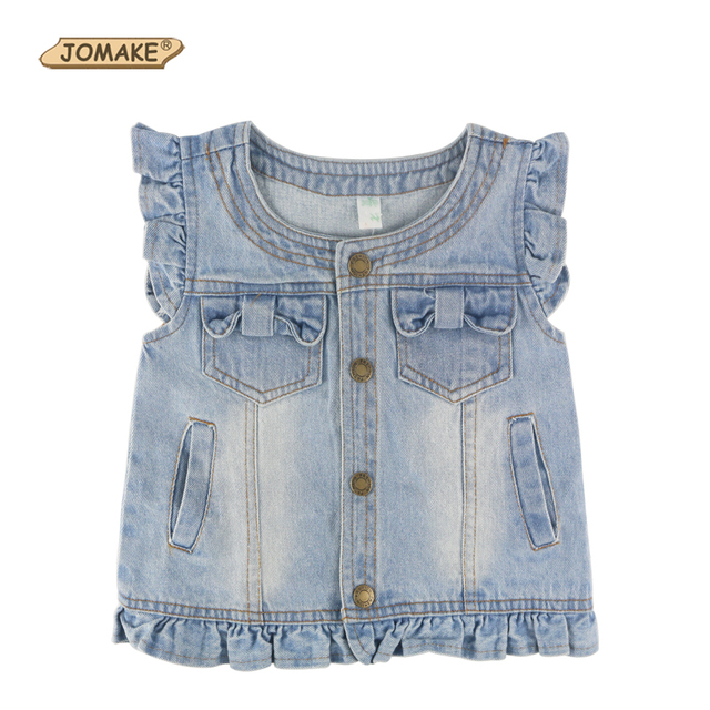 Denim Girls Vests Baby Vest Kids Clothes Children's Clothing Girl Jeans Waistcoat Sleeveless Bow Lace Cute Child Outerwear&Coats