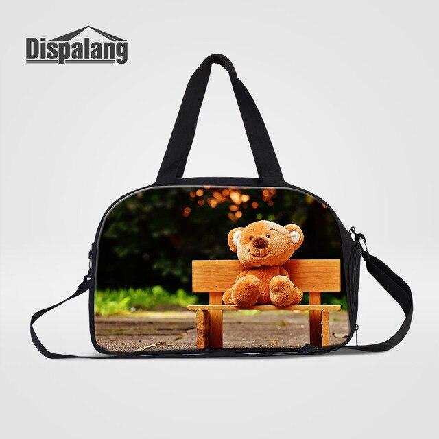 ccdb2f8e9f8e Dispalang Cute Bear Doll Canvas Travel Duffle Bags For Girls Women Cartoon Weekend  Overnight Hand Luggage
