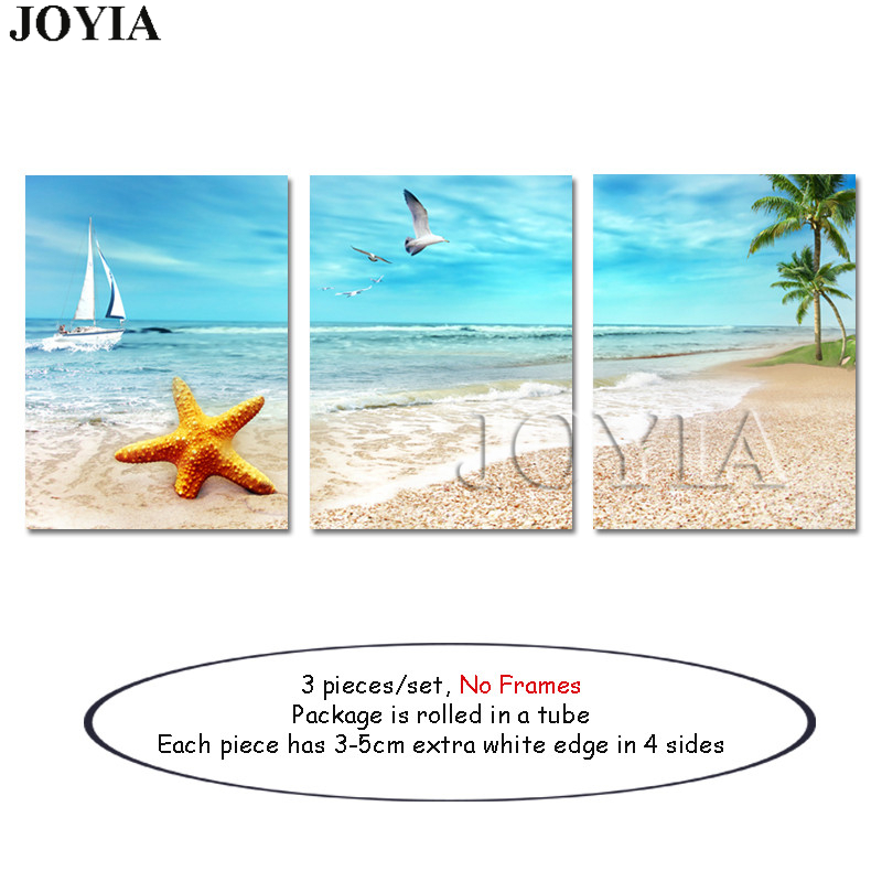 Home Decor Beach Picture Wall Art Paintings Set Ocean View Paintings ...