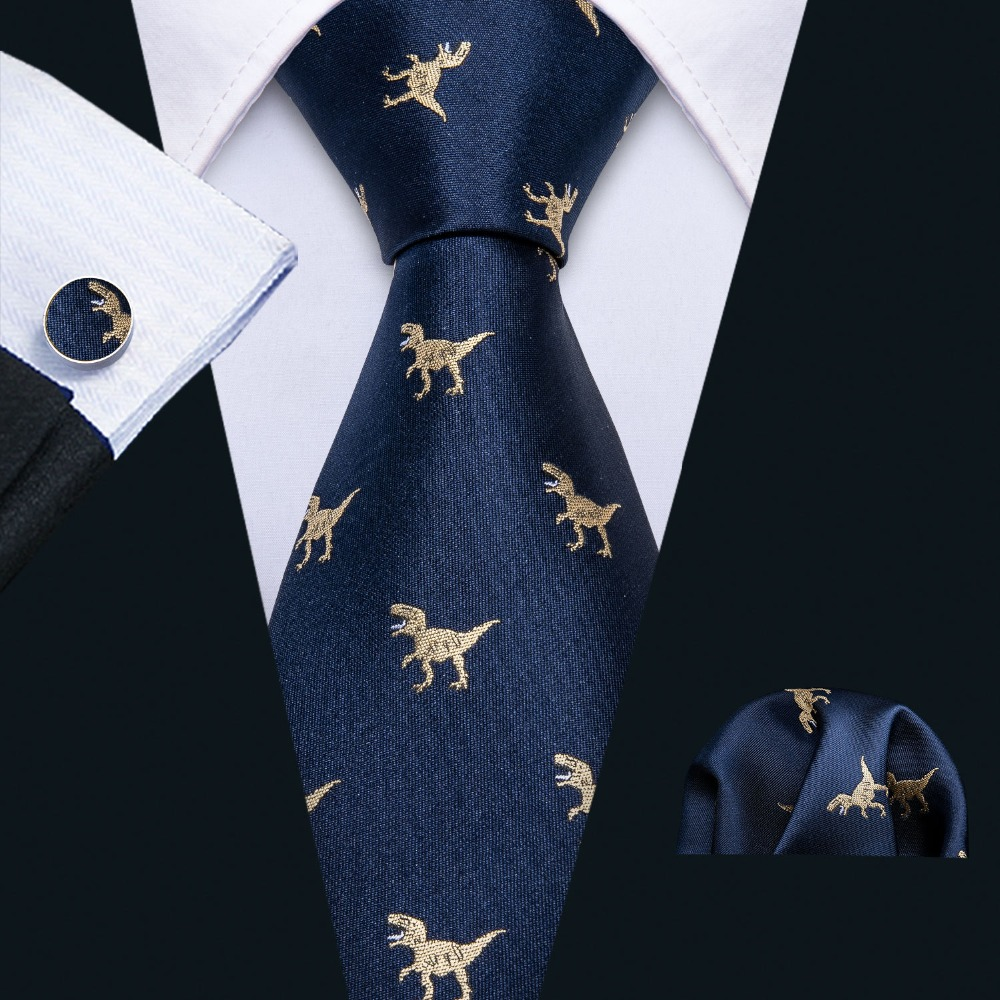 2019 New Arrival Men's Ties Set Dinosaur Pattern Navy Gold Mens Wedding Necktie 8.5cm Necktie Business Silk Ties For Men FA-5191