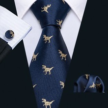Ties-Set Necktie Business-Silk-Ties Navy Dinosaur-Pattern Gold Mens for FA-5191 New-Arrival