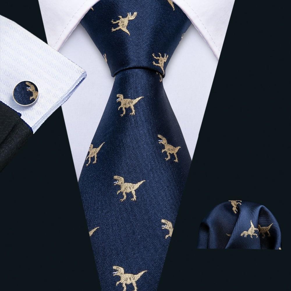 Bekleidung Zubehör Verantwortlich 2019 Neue Ankunft Männer Krawatten Set Dinosaurier Muster Navy Gold Mens Hochzeit Krawatte 8,5 Cm Krawatte Business Silk Krawatten Für Männer Fa-5191 Neueste Mode
