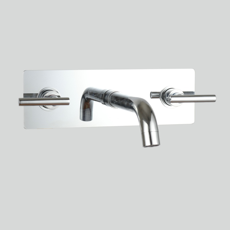 Фотография BECOLA round wall mounted faucet brass chrome bathroom faucets 3 pcs set cold hot water basin tap LT-319L