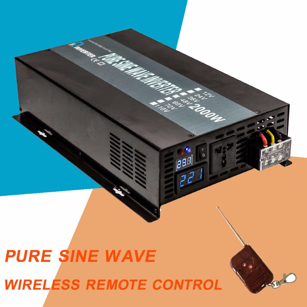 цена на Pure Sine Wave Solar 2000W Inverter With Remote Control Solar System Inverter 2000W 12V 24V Dc to Ac 220V 240V Car Inverter