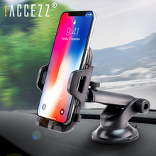 !ACCEZZ Adjustable Car Phone Holder Support Bracket Universal 4.0-6.0 inch Auto Lock Glass Center Control Stand For iphone