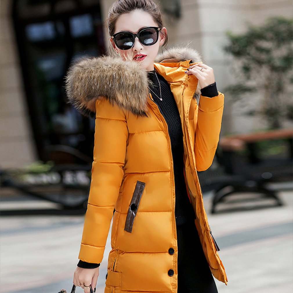 Big Fur Winter   Coat   Thickened Parka Women Stitching Long Winter   Coats     Down   Cotton Ladies   Down   Jacket Women 2018 Chaqueta Mujer