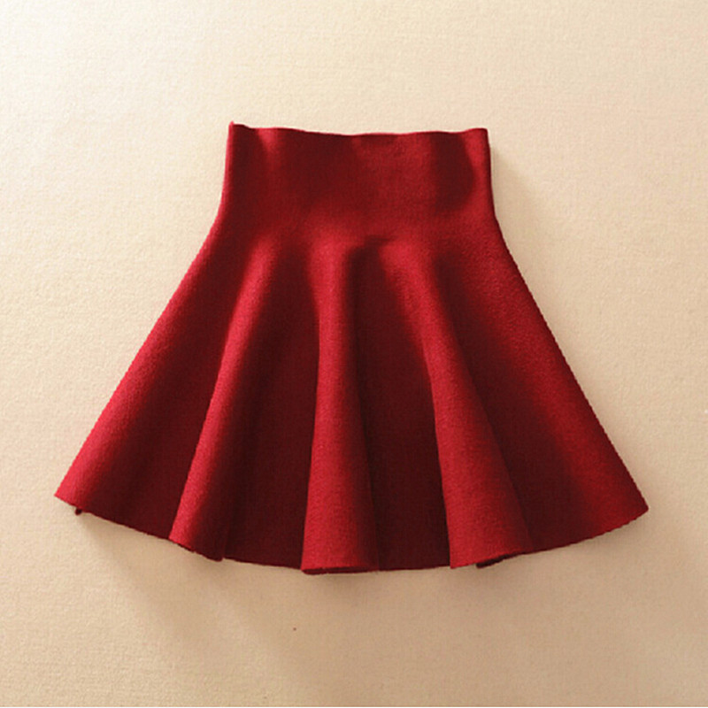 b8f29fbfe7dd 2018 Spring Autumn High Waist Knitted Skirts Women Pleated mini Skirt  Casual Elastic Flared Skirt Female midi Short Skirt Woman-in Skirts from  Women's ...