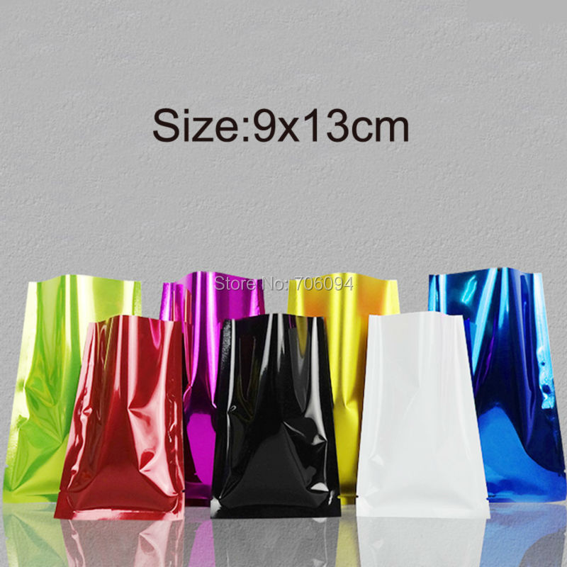 100PCS 9*13cm(3.54*5.12)Colourful Heat Seal Plating Aluminum Foil Bags Snack Food Storage Package Plastic pouch vacuum bag