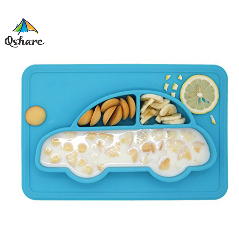 Qshare Baby Dishes Infant Bowls Baby Boy Girls Plate Tableware Children Food Container Kids Dinnware Anti Slip Baby Placemat