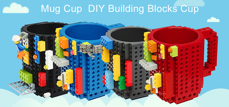 Creative Milk / Coffee Cup - Creative Build-on Brick Mug Cups - Drinking Water Holder for LEGO Building Blocks Design