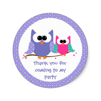 3 8cm cute owls kids birthday thank you stickers in stickers from