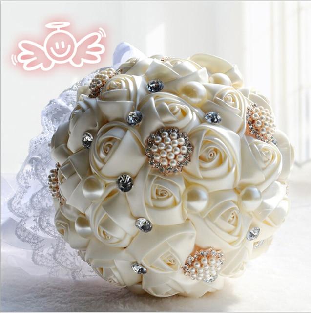 Nueva Llegada 2017 Populares de alta calidad broche ramo de la boda Flores Ramos de Novia Elegante Con Cuentas de Perlas