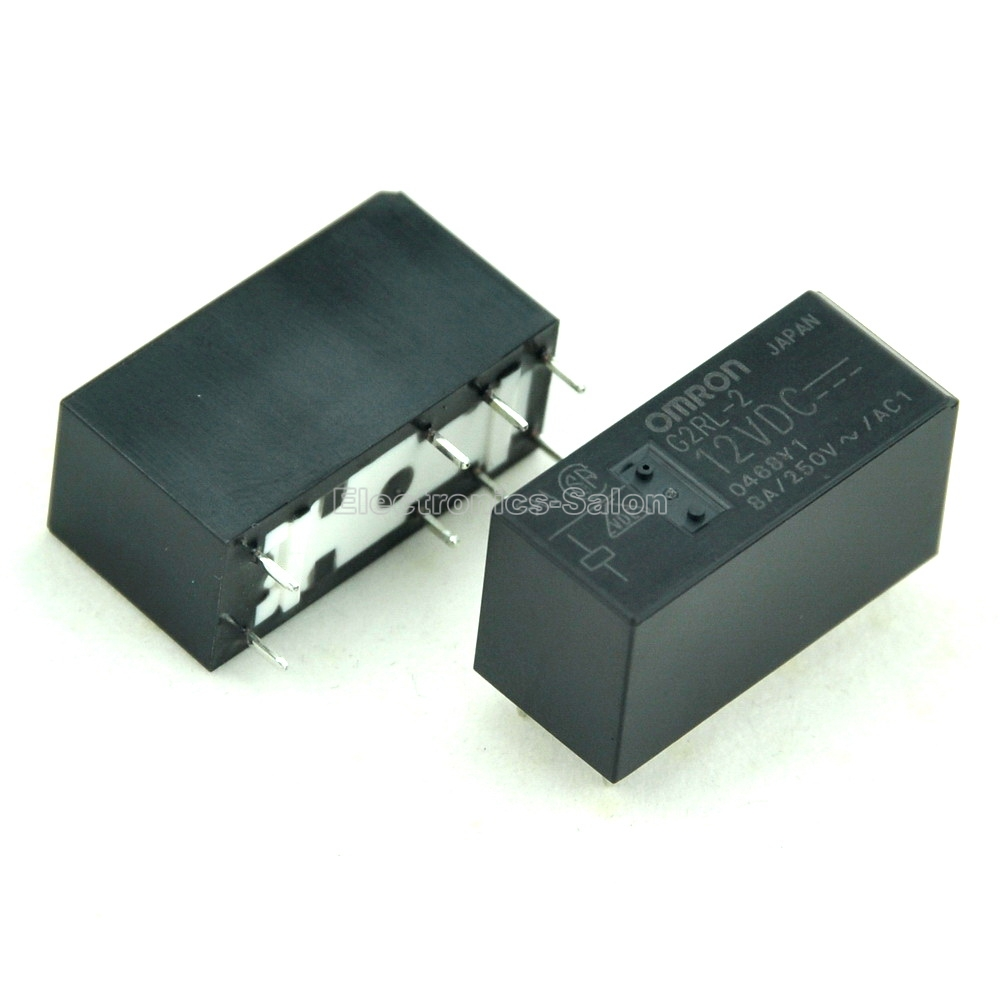 ( 10 Pcs/lot )  G2RL-2 12VDC 12V High Capacity Low Profile DPDT 8 Amp Power PCB Relay.