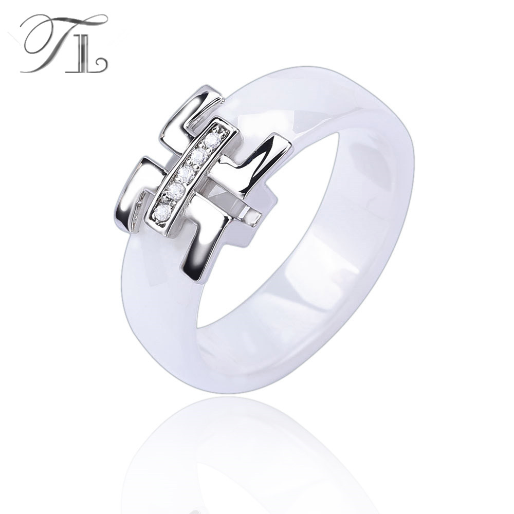 white ceramic ring gold detail rings